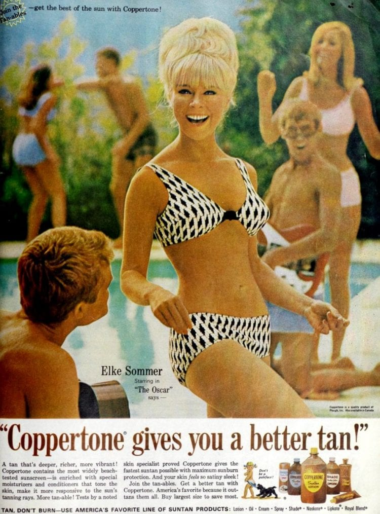 Actress Mitzi Gaynor for Coppertone suntan lotion in 1966