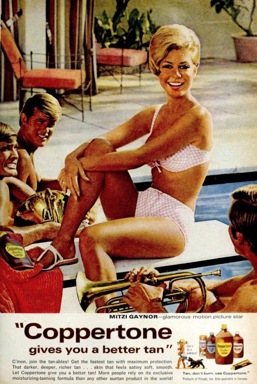 Actress Mitzi Gaynor for Coppertone suntan lotion in 1968