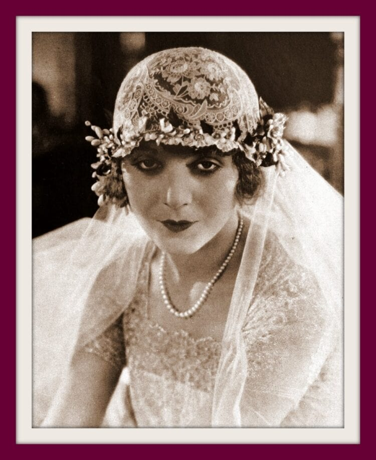 Actress Vilma Banky in a wedding gown in the 1920s