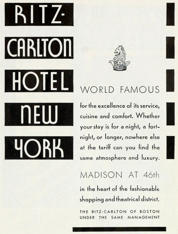 Ad for the old Ritz-Carlton Hotel in New York (1933)
