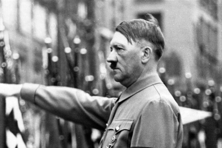 Adolf Hitler giving nazi salute