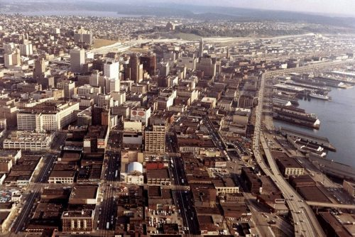 Aerial view of downtown Seattle in 1967
