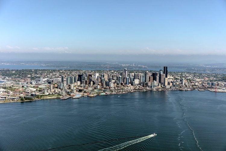 Aerial view of the Seattle, Washington, skyline.