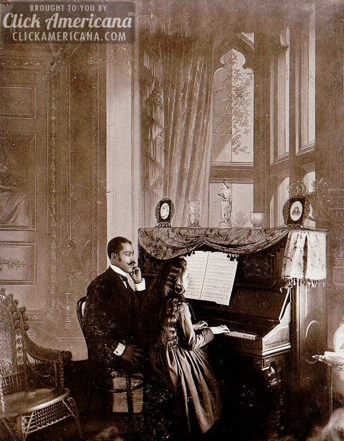 A piano lesson in the parlor (1899)