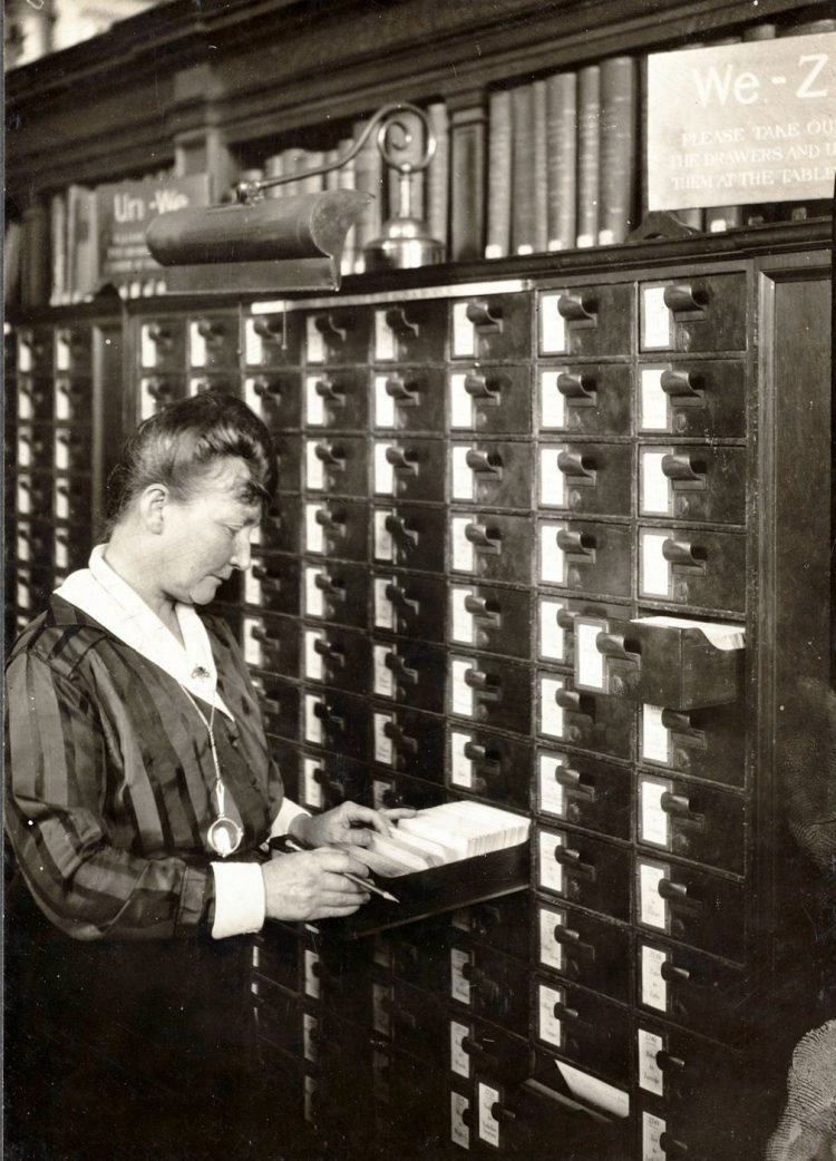 Agnes C. Doyle of the Boston Public Library - Bates Hall card catalogue
