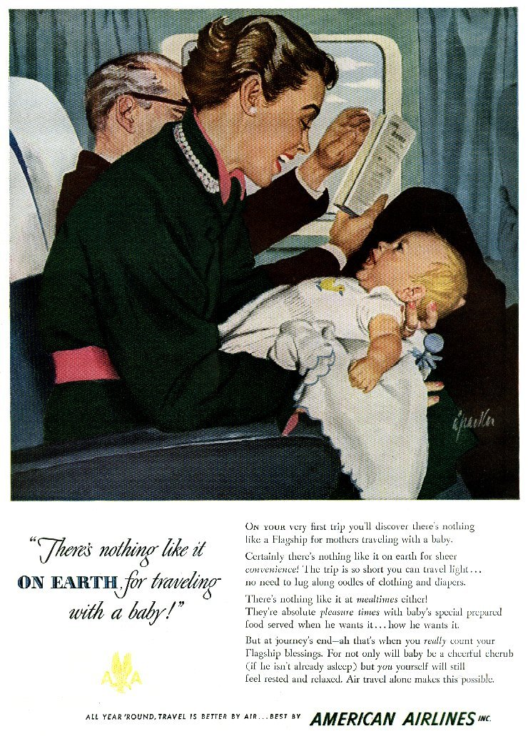 Airplane travel with a baby 1949