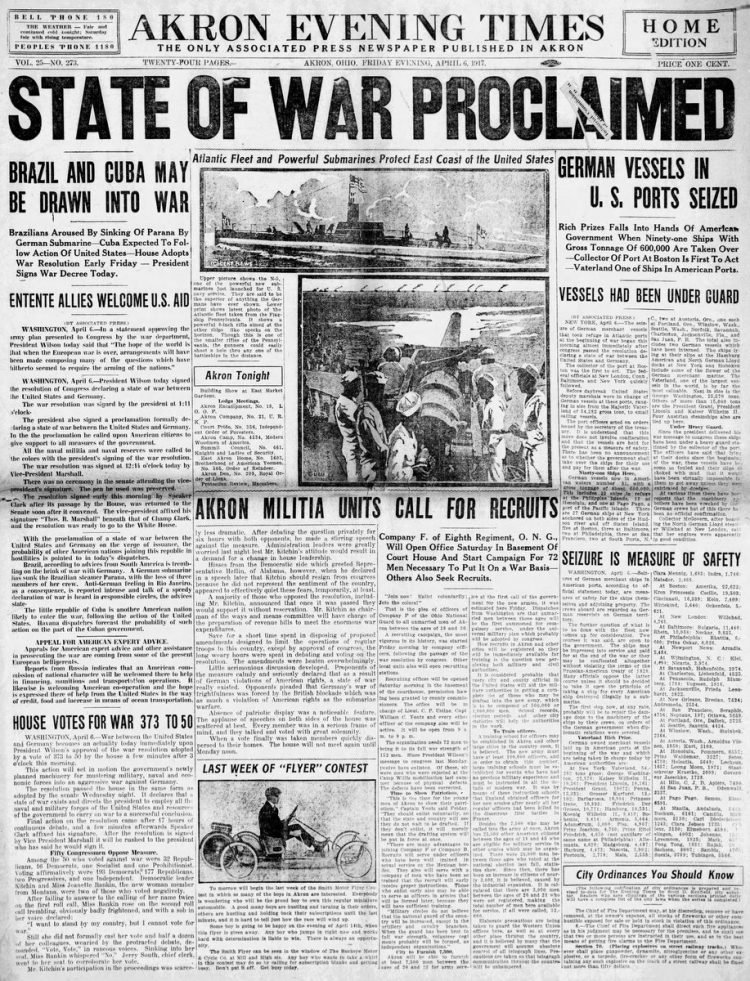 Akron Evening Times newspaper front page - US in World War I - April 1917