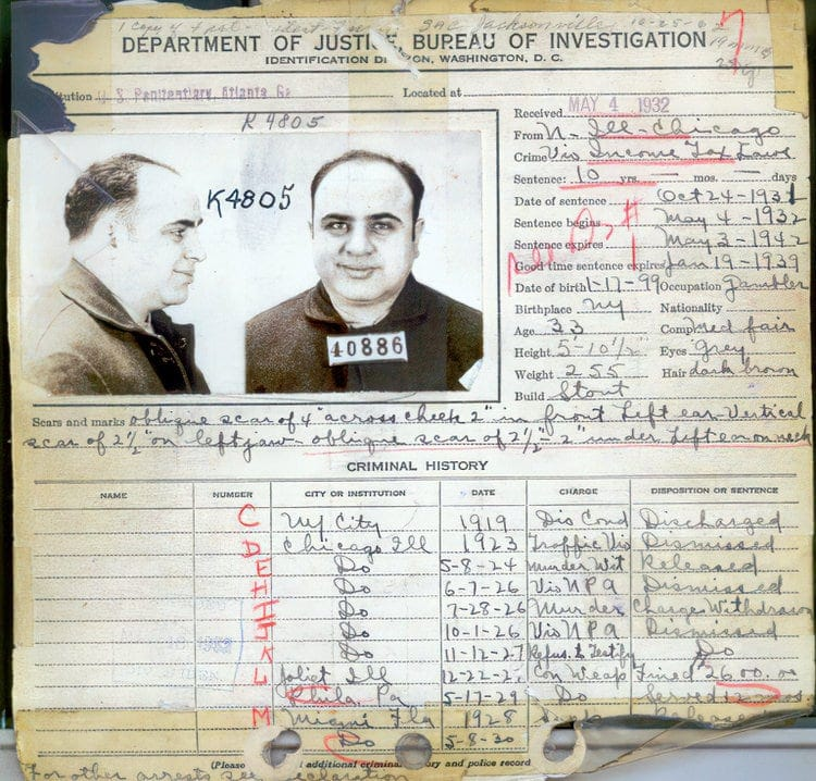 Al Capone's criminal record as of 1932