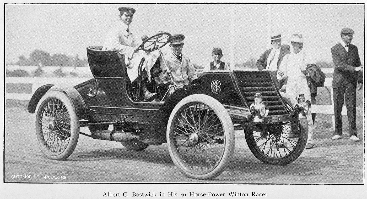 Albert C. Bostwick in his 40 horsepower Winton Racer (1902)