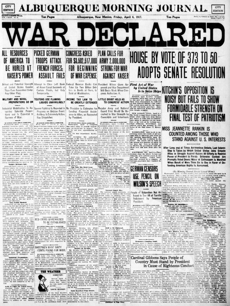 Albuquerque Journal newspaper front page - US in World War I - April 1917