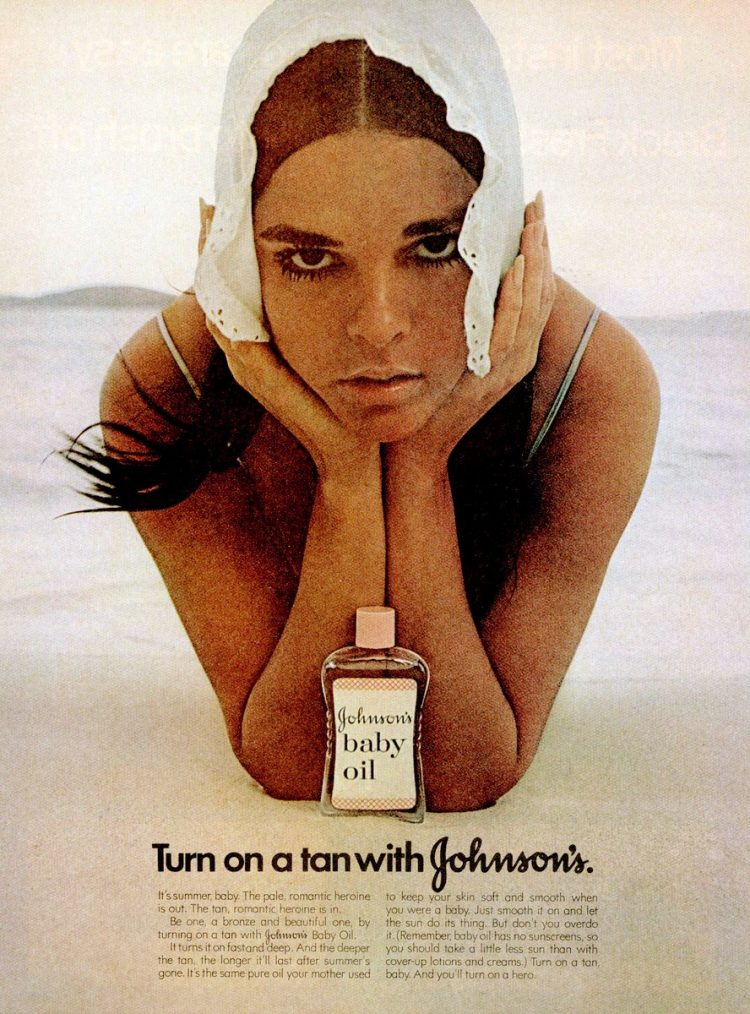 Ali MacGraw for Johnson's Baby Oil tan from 1971
