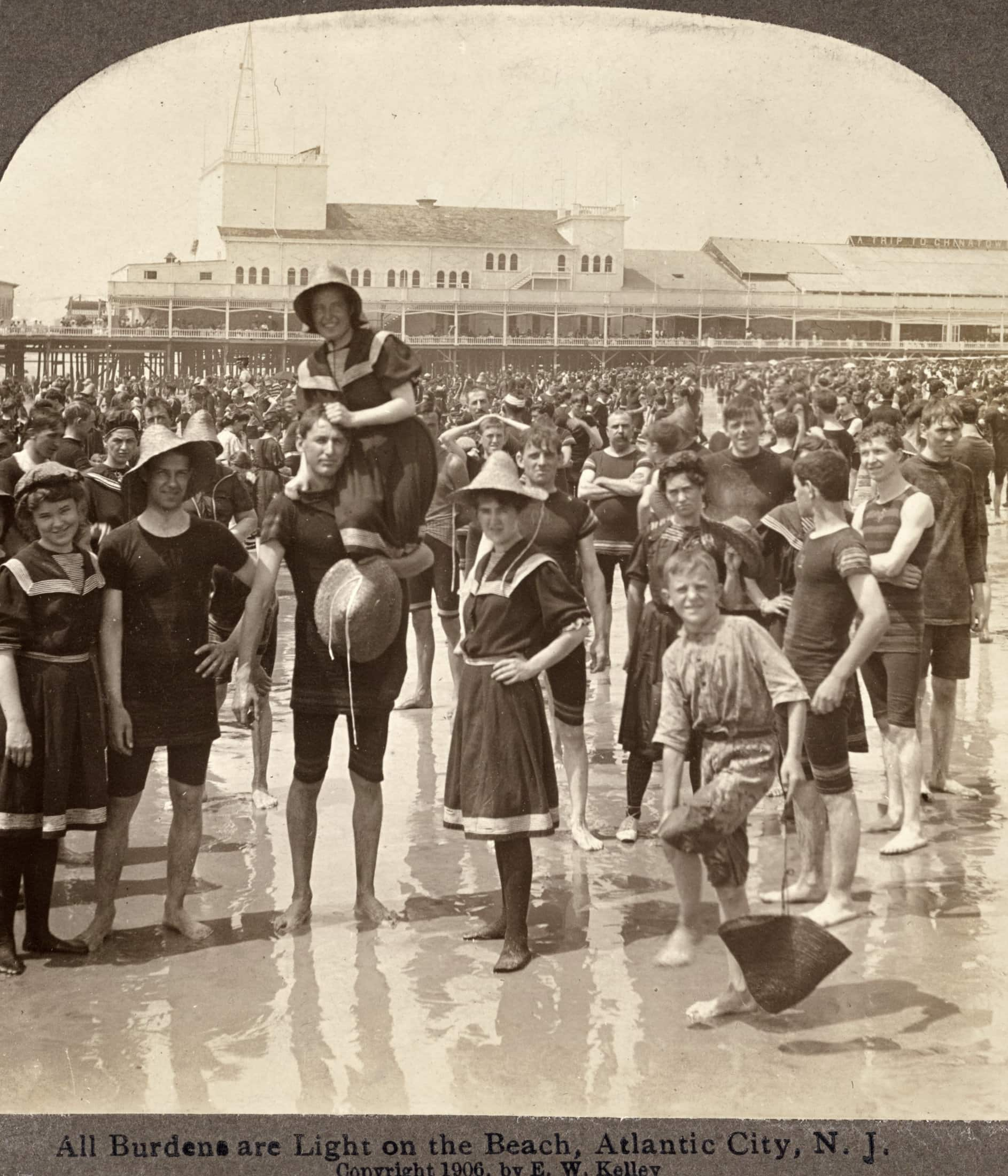 All burdens are light on the beach, Atlantic City, New Jersey (1906)
