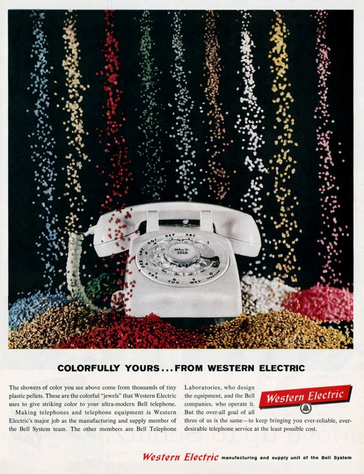 All the colors of vintage dial telephones from 1960