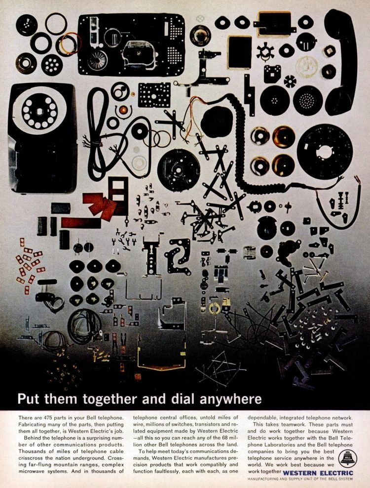 All the parts of a dial telephone from 1963