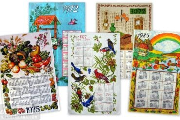 All year long Vintage tea towel calendars lots of people would hang up in the kitchen (1970s-1980s)