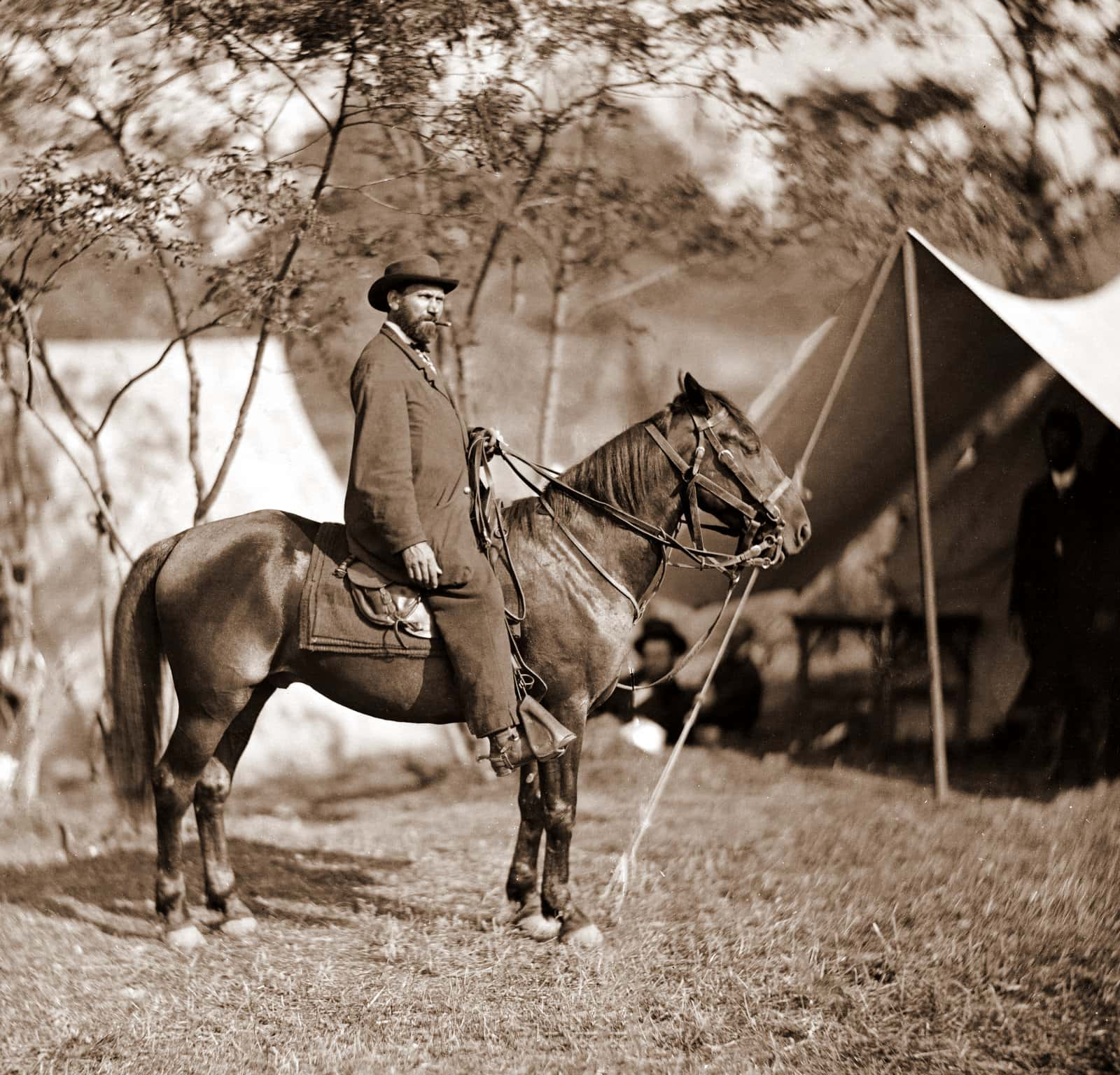 Allan Pinkerton (EJ Allen) of the Secret Service on horseback (Civil War - Antietam 1962)