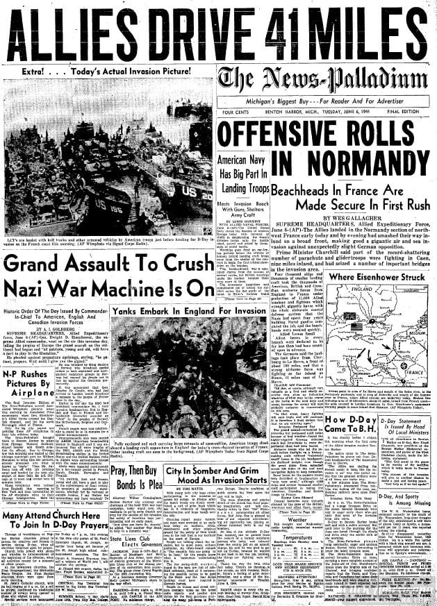 Allies drive 41 miles on D-Day Offensive rolls into Normandy newspaper