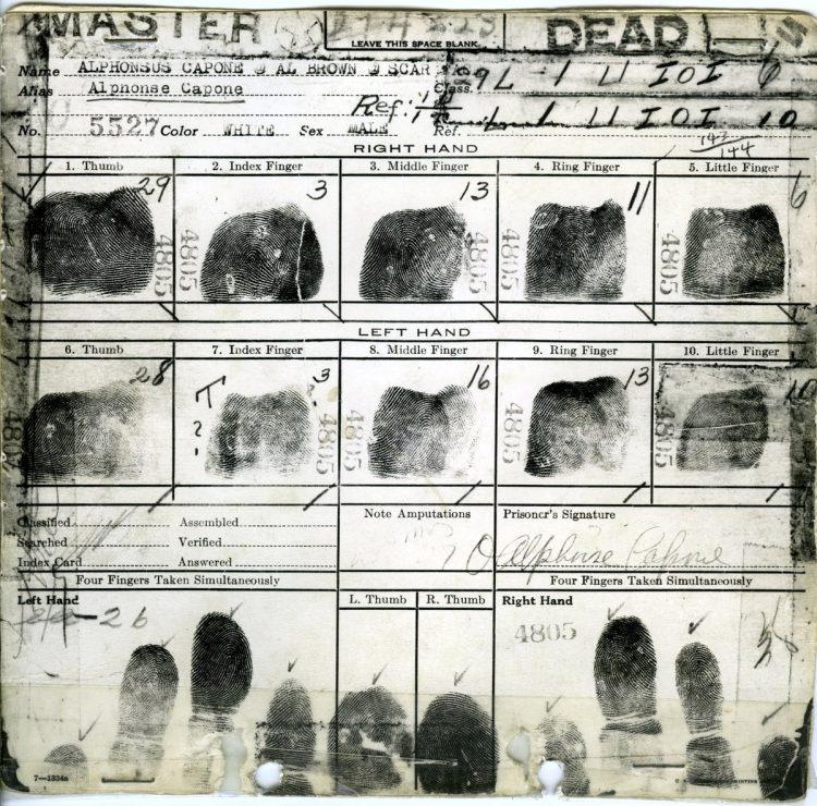Alphonse Capone - Al Capone fingerprints 1930s