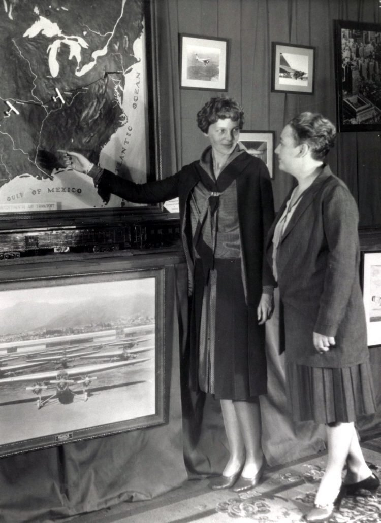 Amelia Earhart and Mrs Maddux in Grand Central Terminal