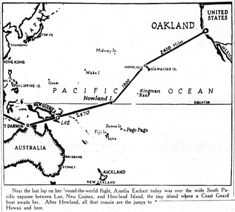 Amelia Earhart flight plan - 1937