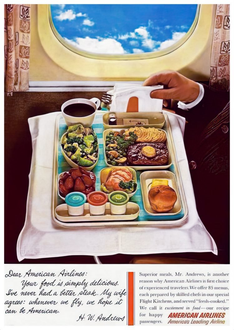 American Airlines in-flight meals 1955
