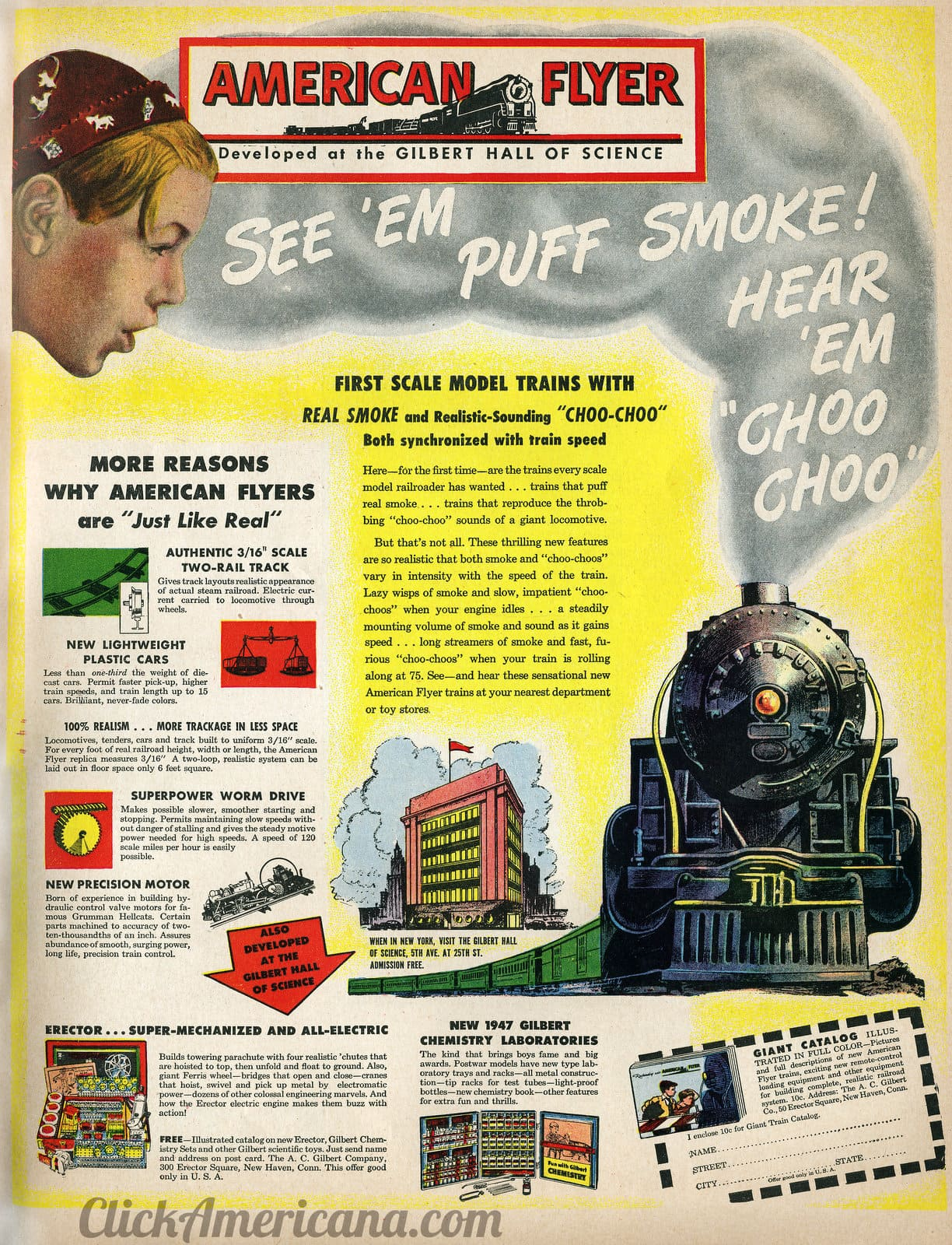 American Flyer model trains with smoke (1946)