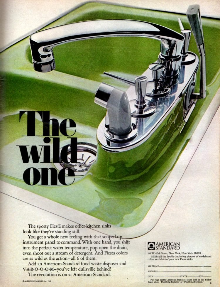 American Standard colored kitchen sinks from the 1960s