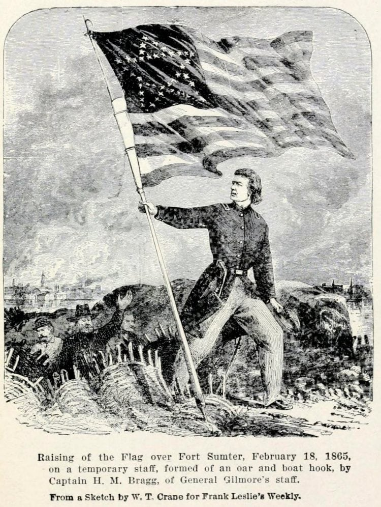 American flag at Fort Sumpter - US history