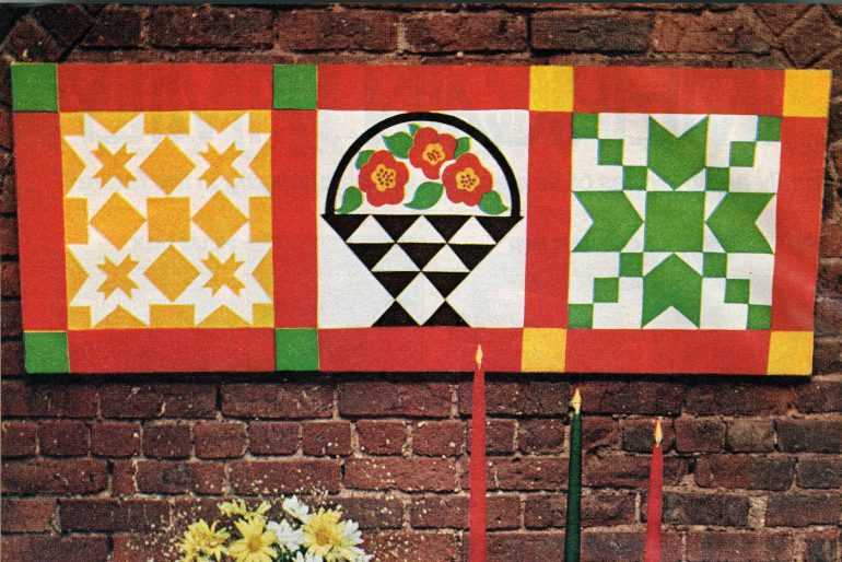 American folk patchwork wall hanging