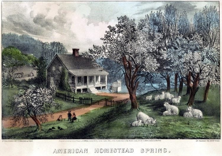 American homestead spring by Currier and Ives 1869