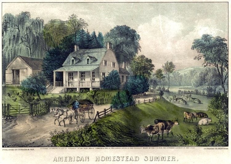 American homestead summer by Currier and Ives 1868