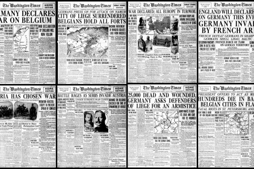 American newspaper headlines from the very start of WWI in 1914