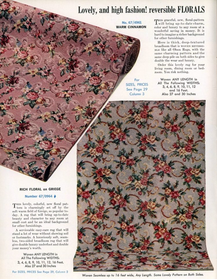Lovely, and high fashion! Olson reversible floral carpeting from 1962
