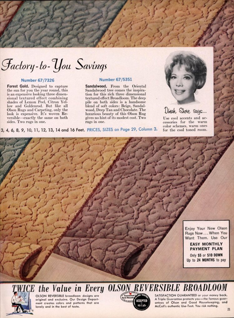 3-dimensional textured, sculpted carpeting from 1962