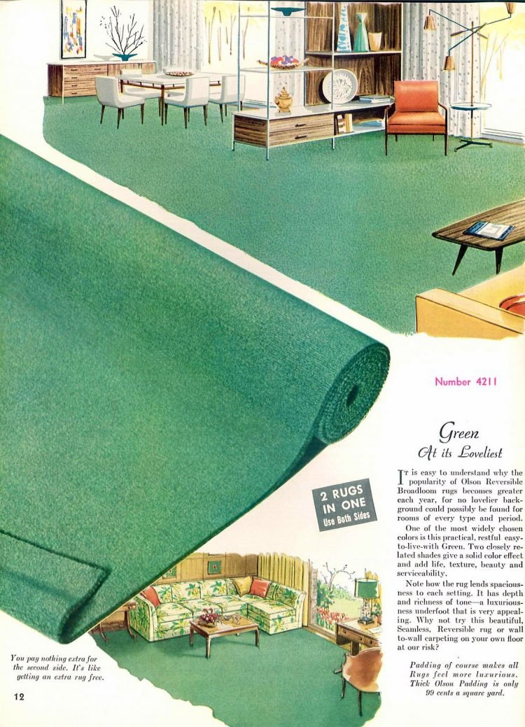 Midcentury modern era carpeting from the '60s: Green, at its loveliest