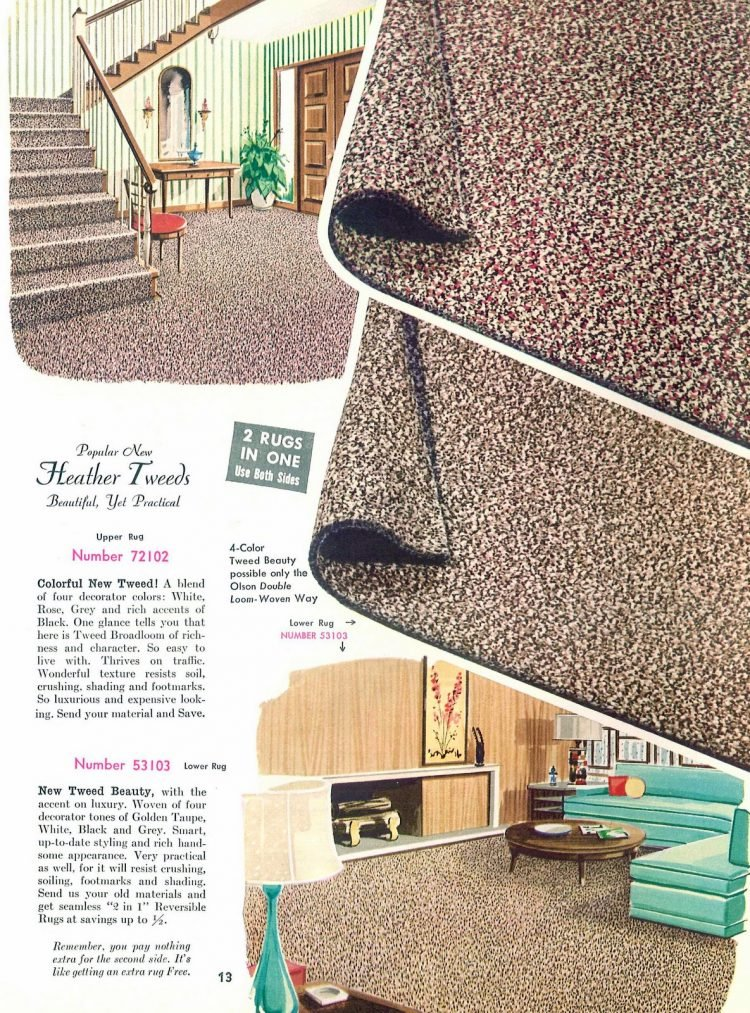 Vintage carpeting: Popular heather tweeds - Beautiful, yet practical