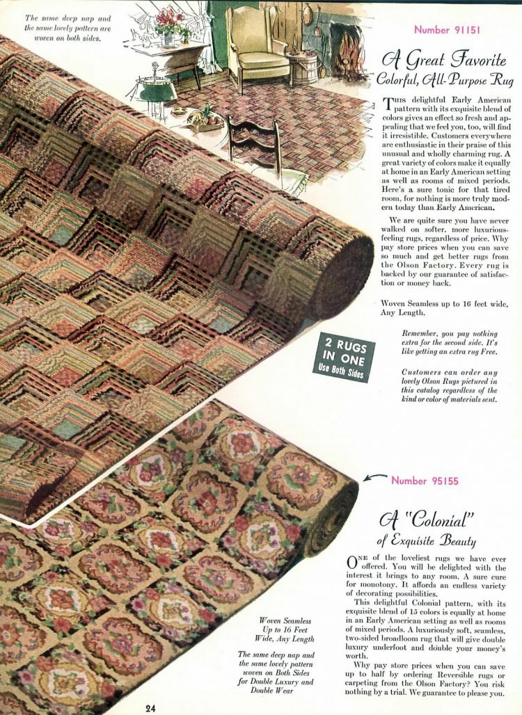 Mid-century modern carpet: Early American pattern from 1962