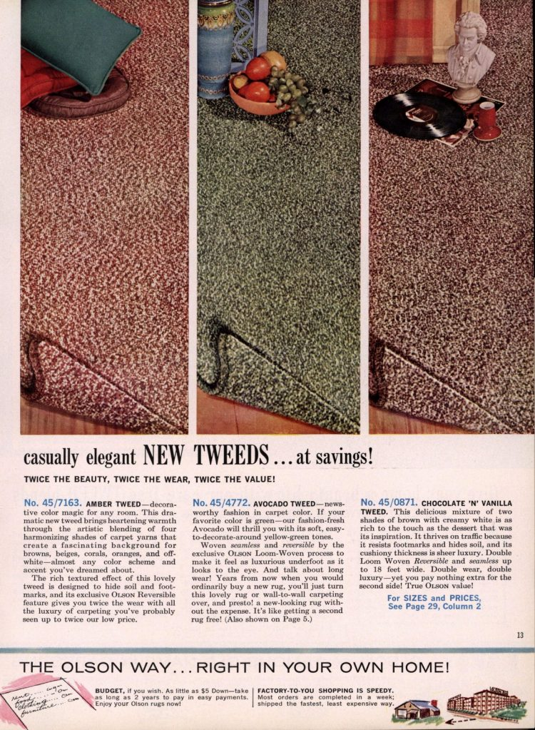 Casually elegant NEW TWEED carpeting styles for mid-century homes