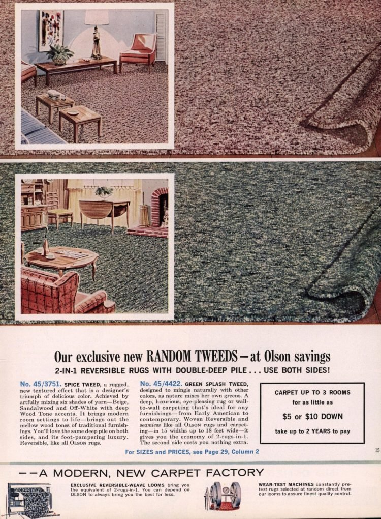 Random tweeds - Vintage carpeting from 1963