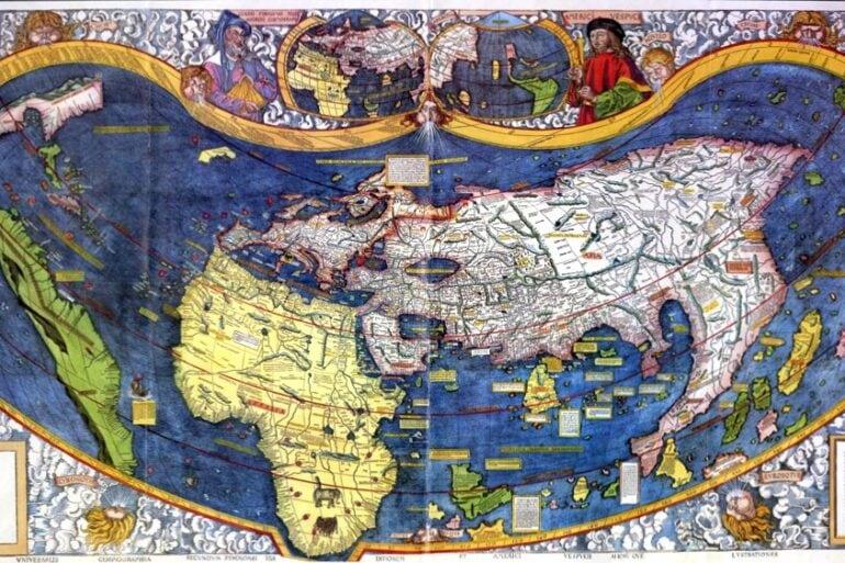 Amerigo Vespucci - Martin Waldseemuller map in color