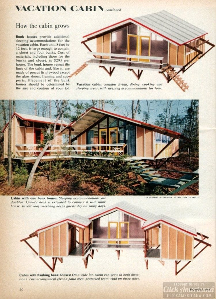Design for a vacation cabin from the 1950s