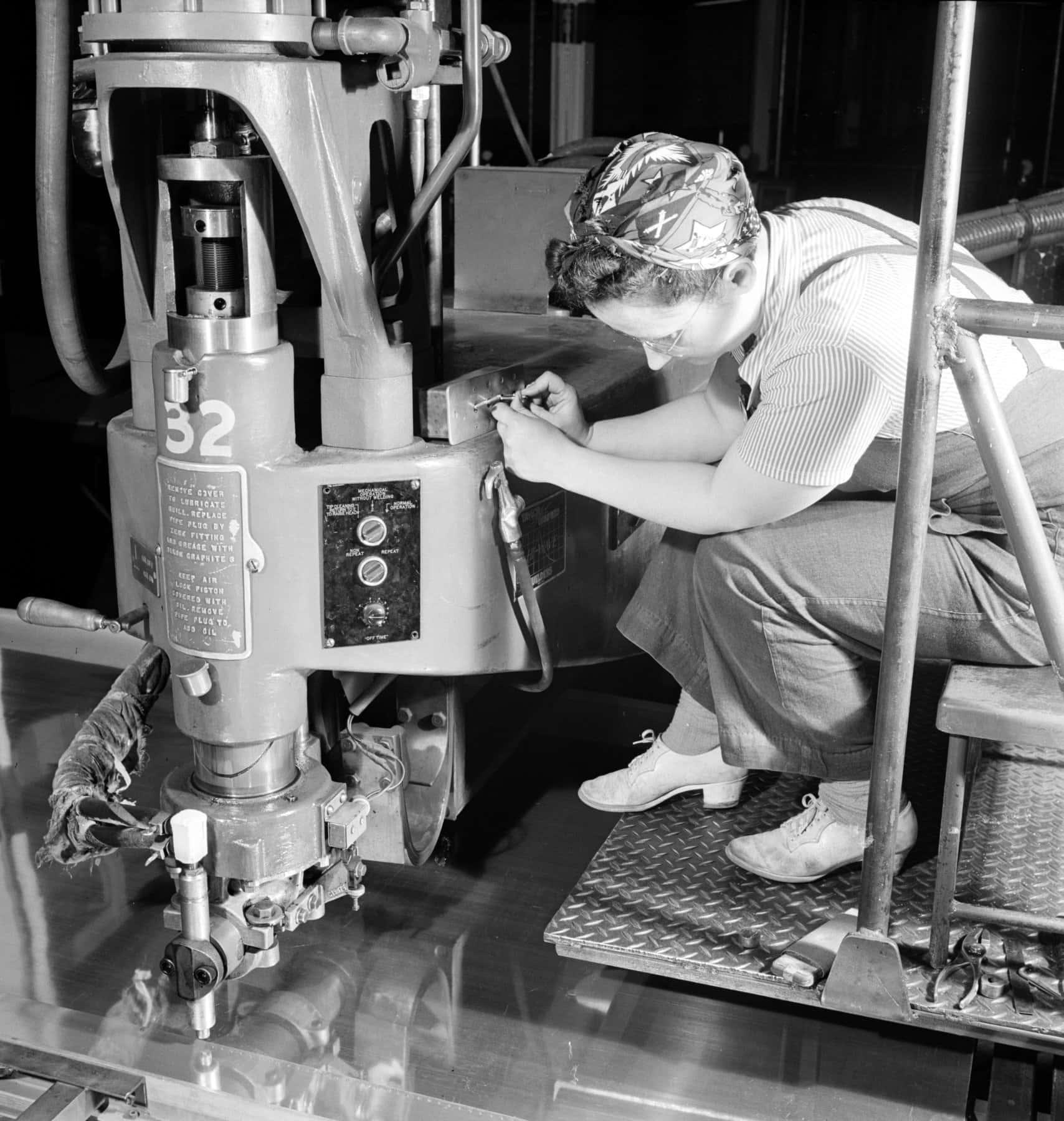 An electric spot welding job on a part for a new B-17F