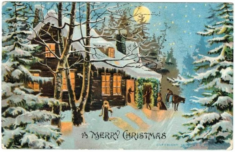 An old-fashioned A Merry Christmas postcard from c1909
