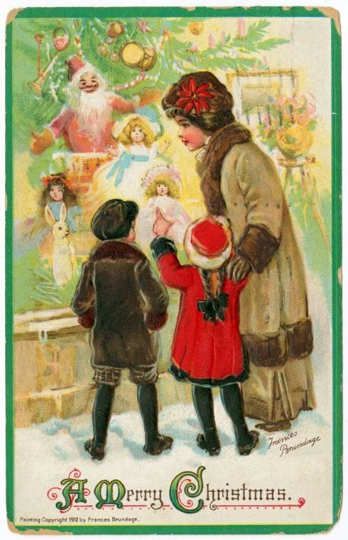 An old-fashioned Christmas card from 1912 - Yous and tree
