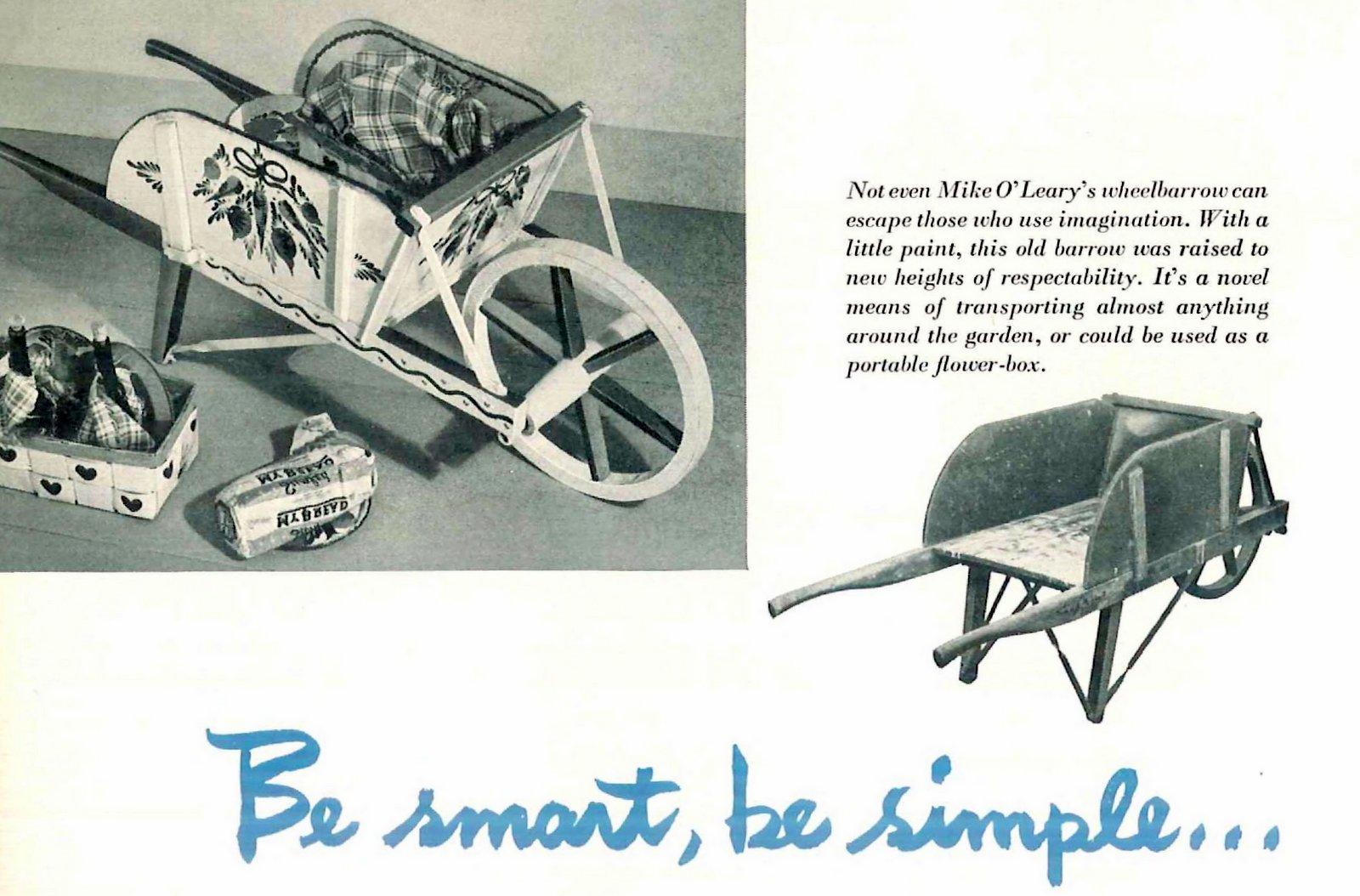 An old wheelbarrow reimagined with paint