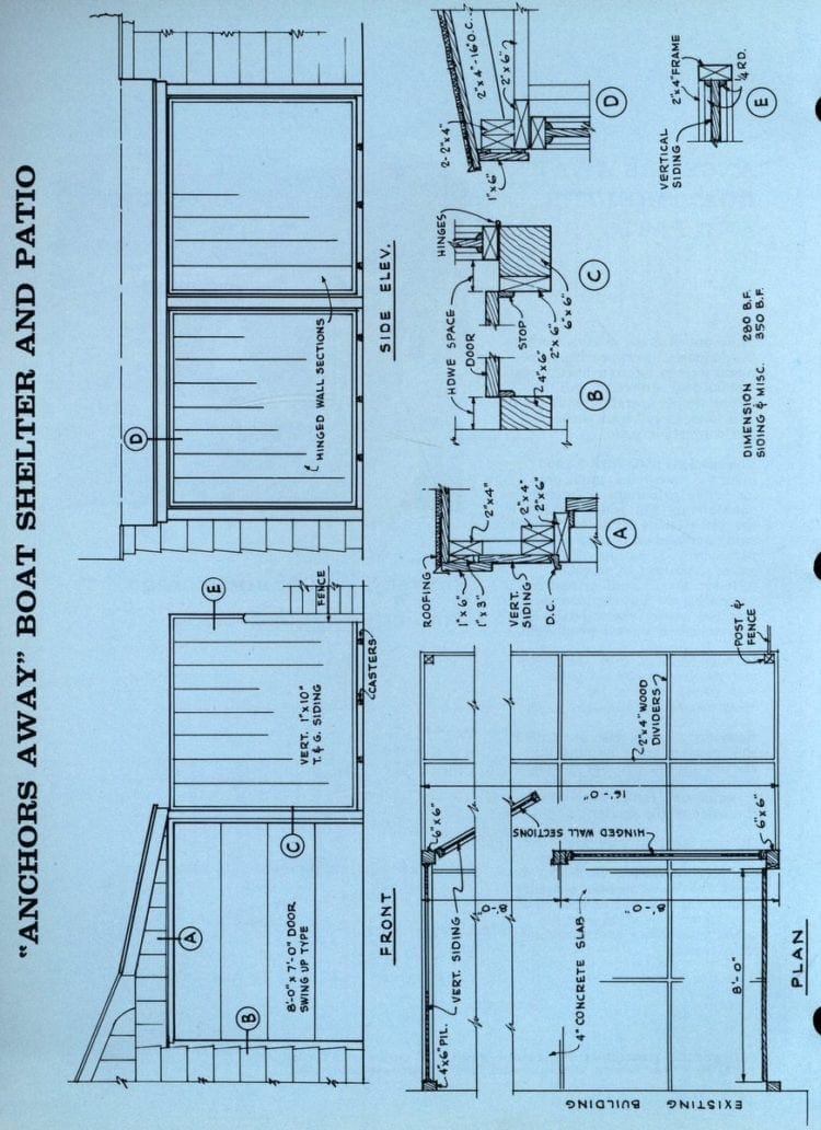 boat shelter & patio plan diagram