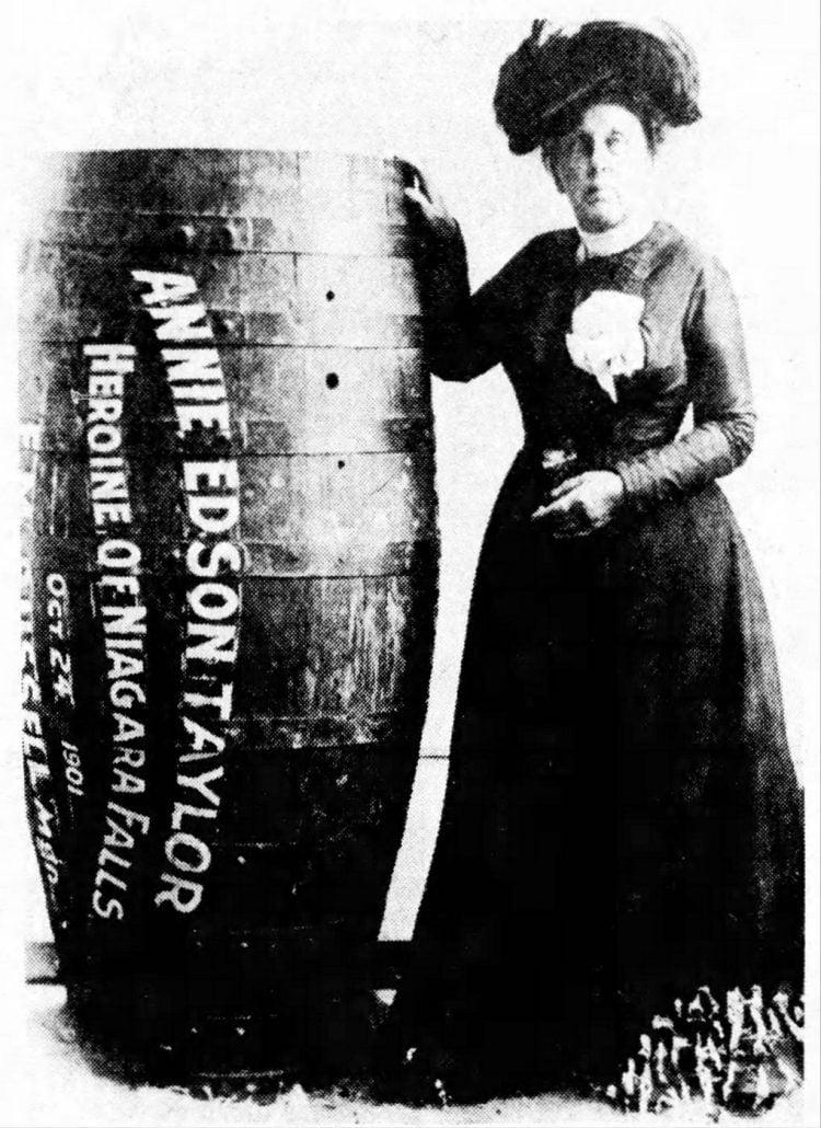 Annie Edson Taylor over Niagara Falls in a barrel (1)