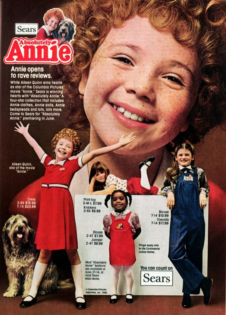 Annie Movie-inspired fashion at Sears (1982)