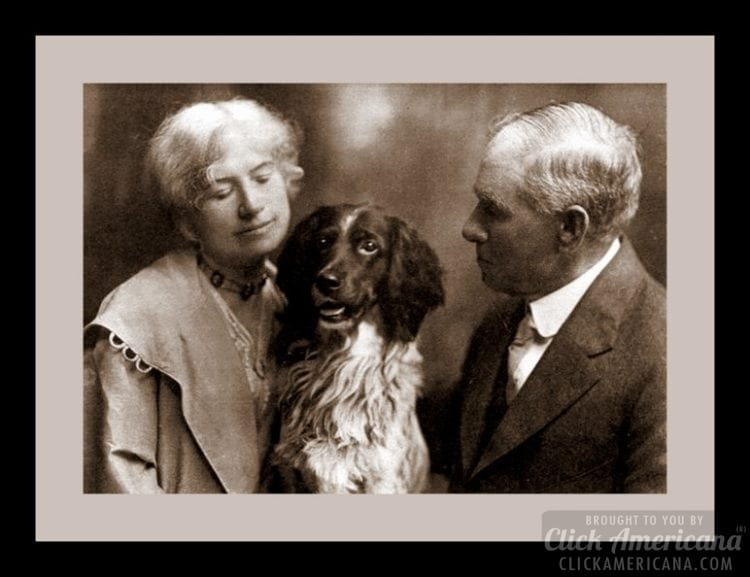 Annie Oakley, husband Frank Butler and their dog Dave c1920