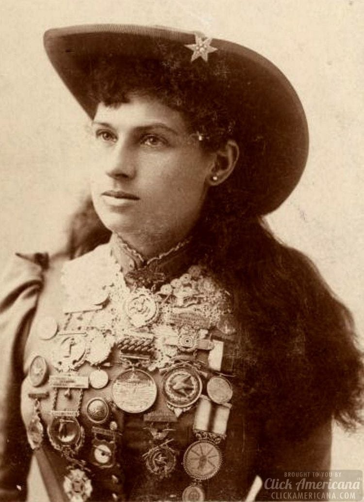 Annie Oakley with medals